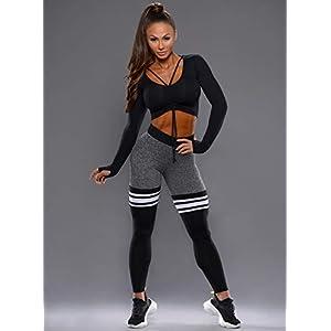 Bombshell Sportswear - High-Waist Thigh-Highs (Gray/Black, Small)