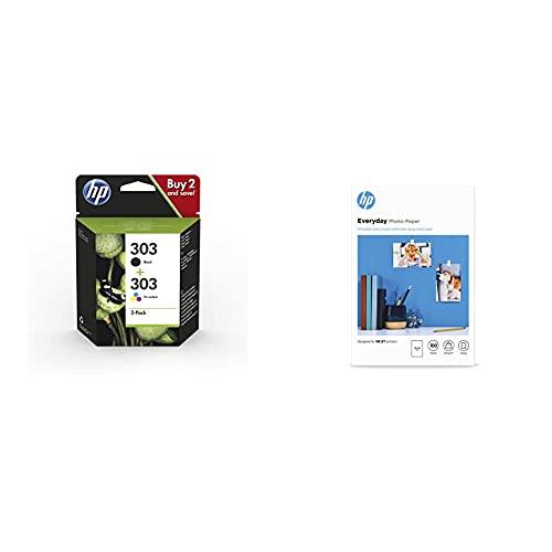 HP 303XL 3YN10AE Negro y Tricolor, Cartuchos de Tinta de Alta Capacidad Originales, Pack de 2, + Everyday Photo Paper, CR757A, 100 Hojas de Papel fotográfico Brillante avanzado