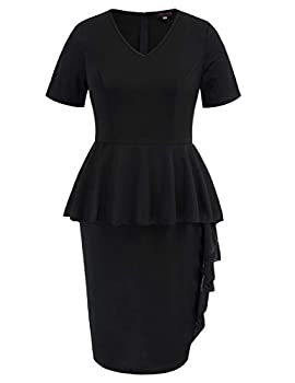 Hanna Nikole Women Black Plus Size Peplum Dress Ruffle Hem Elegant Church Party Wrap Midi Dresses 22W