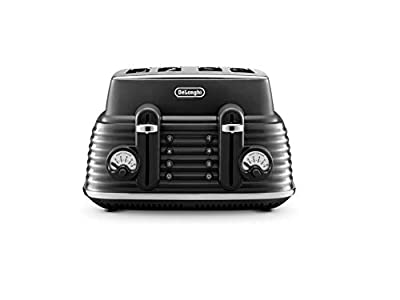 De'Longhi Scolpito 4 slot toaster, reheat, defrost, one-side bagel & 6 browning settings, Stainless steel, CTZS4003.BK, Granite Black