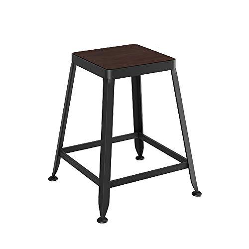 Tabouret de bar bois massif européen en fer forgé tabouret de bar tabouret de bar chaise minimaliste moderne tabouret haut (Couleur : H, taille : 45cm)