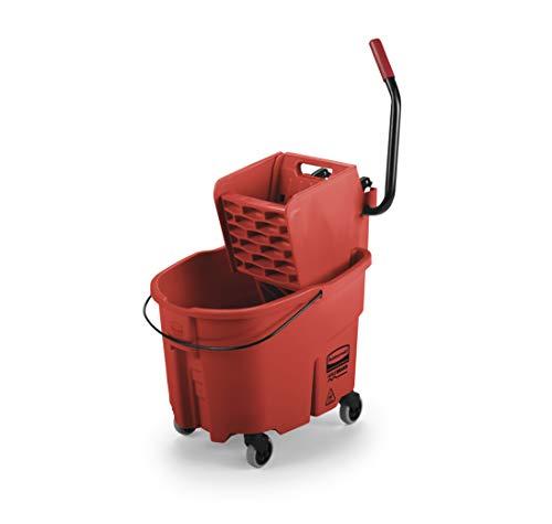 Rubbermaid Commercial WaveBrake FG748000 Sistema de fregado de cubeta y escurridor de presión lateral, 24.6 litros, amarillo, Rojo, 35 Qt