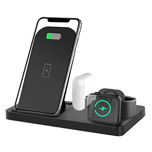 LAHappy Base de Carga Inalámbrica 4 en 1 Soporte de Carga Rápida de 10 W para iPhone 12/12 Pro/12 Pro Max/12 Mini/11/11 Pro MAX/X/XS MAX, Apple Watch AirPods Pro,Negro