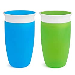 in budget affordable Munchkin Miracle 360 Sippy Cup, Green / Blue, 10 oz, 2 Count