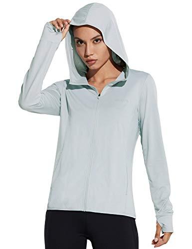BALEAF Women's Zip Up Sun Shirts SPF UPF 50+ UV Hoodie Jackets Hiking Thumb Holes Lightweight Quick Dry Outdoor Grey L