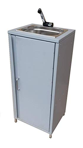 TMM mobiele spoelbak wastafel gootsteen handwasbak zilvergrijs incl. accessoires/spoelbak voor verkoopstand camping