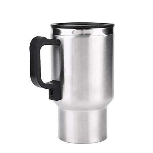 Keenso 450ml Elektroauto-Schalen-Reise-Erhitzungsschale elektrischer Isolierstecker kocht kochendes Auto-Kaffeetasse-Heizung mit Zigarettenanzünder 12V Edelstahl