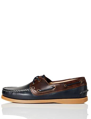 find. Amz038_Leather Chaussures bateau, Marron (Navy/Brown/Gum), 42 EU