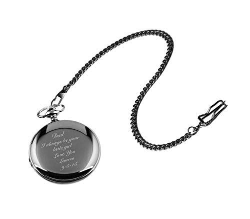 Personalized Gunmetal Pocket Watch Custom Engraved Free with Gift Box - Ships from USA