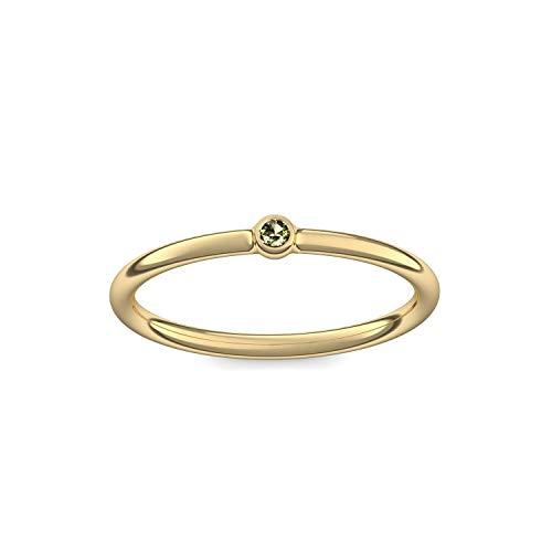 Goldring Peridot 585 + inkl. Luxusetui + Peridot Ring Gold Peridotring Gold (Gelbgold 585) - Slick one Amoonic Schmuck Größe 50 (15.9) KA11 GG585PEFA50