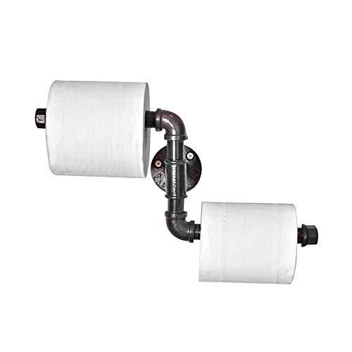 Affogato Portarrollos de papel higiénico montado en la pared, color negro, toallero, estilo industrial, accesorios de baño impermeables a prueba de moho (doble tubo de agua)
