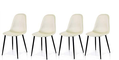 Fashion Commerce Set di 4 sedie Stile DSW in Ecopelle Crema, Metallo, Set 4 unità