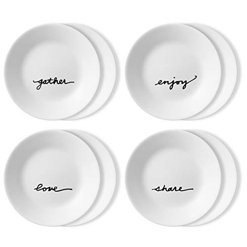 Corelle Chip Resistant 8 Pack Appetizer Plates, 8-Piece, Celebrations