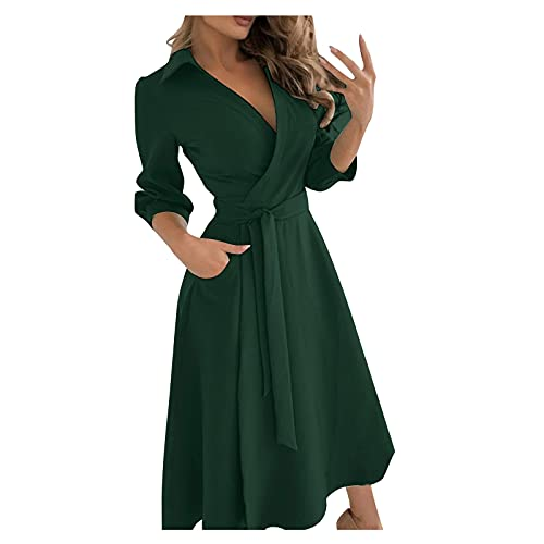 Damen Abendkleid Große Größen Partykleid Hohe Taillen Lose Wickelkleid Langes Kleid Edel Elegant Stilvolles Einfarbiges Frauenkleid...