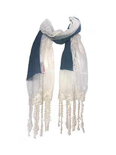 Pamper Yourself Now Dunkelblau mit Creme Flower Lace mit Fransen Schal- Dark blue with cream flower lace trim with tassels scarf