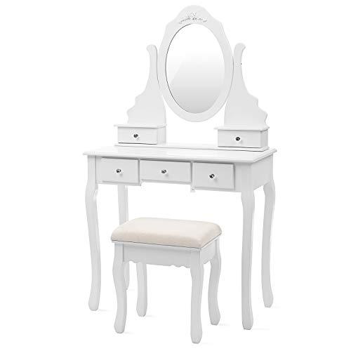 SONGMICS Coiffeuse, Table de Maquillage, avec 1 Miroir, 5 tiroirs et 1 Tabouret, Parois dans Le tiroir, Miroir pivotant, Blanc RDT09W