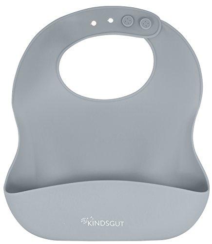 Kindsgut Silikonlätzchen, mit Auffangschale für Babys und Kleinkinder, dezente und moderne Farben, frei von BPA, Dunkelgrau