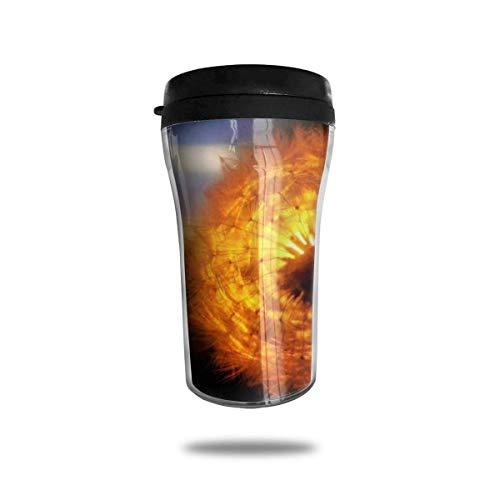 Kaffee Reisebecher Auto Eistee oder Wasserflasche Isolierter Edelstahl Vakuumisolierter Edelstahl Becher Kaffee Reisetasse,Orange Löwenzahn