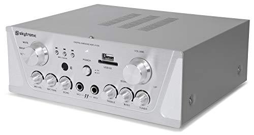 SkyTronic AV420S Versterker Karaoke met USB, SD, AUX en FM