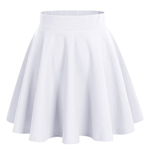 DRESSTELLS Damen Basic Solide Vielseitige Dehnbar Informell Mini Glocken Rock Weiß XL