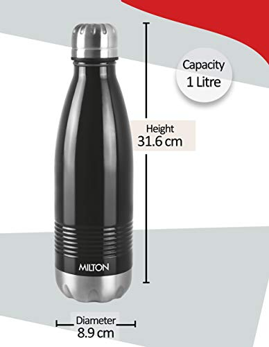 Milton Duo DLX 750 Thermosteel 24 Hours Hot and Cold Water Bottle, 700 ml, Black