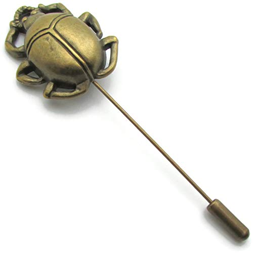 Handmade Scarab Lapel Pin Antique Bronze Beetle Insect Nature Brooch Stick Pin