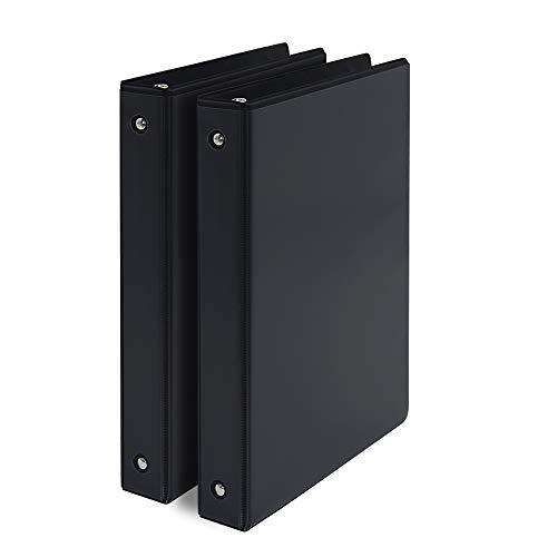 COMIX A2130 Basics Durable 3 Ring Binder 200-Sheet Capacity 2-Pack (Black)