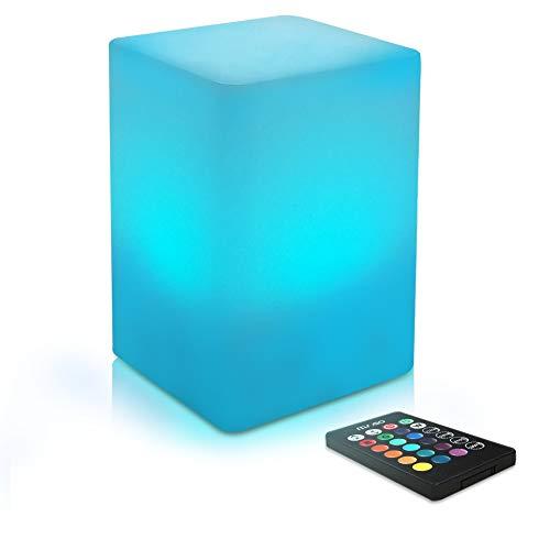 Mr.Go Schlafzimmer Nachtlicht Farbwechsel LED Stimmungslicht für Kinder und Erwachsene - 8 Level Dimming - 16 RGB Farben - Wiederaufladbare - Tisch Nachttischlampe mit Fernbedienung - 10 * 15cm
