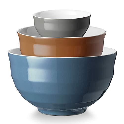 DOWAN Ceramic Mixing Bowls for Kitchen 425/2/05 Qt Large Serving Bowl Set Oven amp Microwave amp Dishwasher Safe Sturdy amp No Scratch Nesting Bowls for Space Saving 3Piece Set