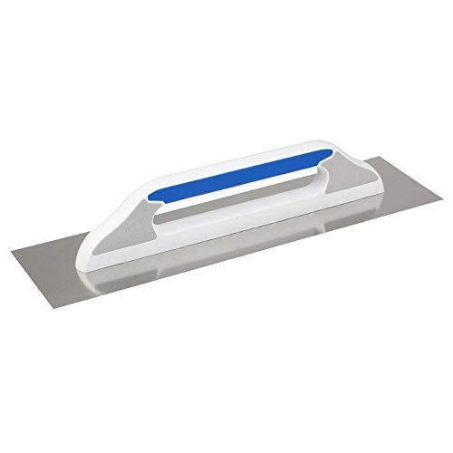 DEWEPRO® Schweizer Glättekelle Glättkelle - Aufziehplatte - Aufziehglätte - Traufel - Edelstahl 480x130mm - glatt - hochwertiger 2-K-Griff