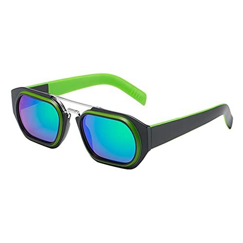 perfeclan Gafas de sol cuadradas con forma de moda a la moda para hombres, mujeres, accesorios para vacaciones al aire libre, sombras, gafas - Verde negro