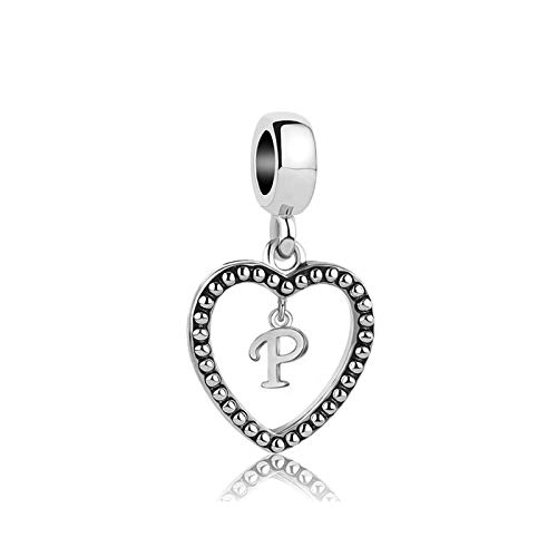 MiniJewelry Letter Initial P Charm for Bracelets Love Heart Dangle Name Letter Charm 4.9mm fits Pandora Charms Bracelets
