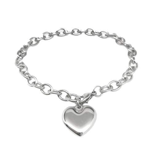 Stainless Steel Heart Charm Bracelet Adjustable Chain for Women Silver Tone (7 inch)