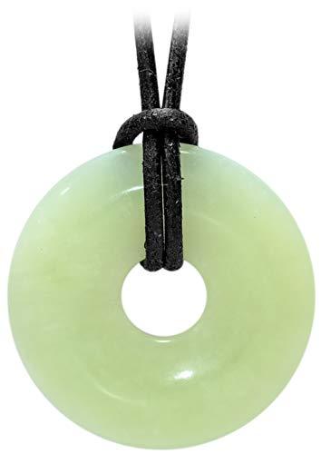 Kaltner Präsente Geschenkidee - Lederkette für Damen und Herren mit Donut Anhänger aus dem Edelstein Jade Grün (Ø 30 mm)