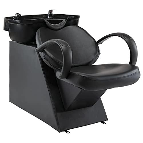vidaXL Friseurstuhl mit Waschbecken Friseursessel Friseureinrichtung Rückwärtswaschbecken Friseursalon Friseurwaschbecken Schwarz Kunstleder