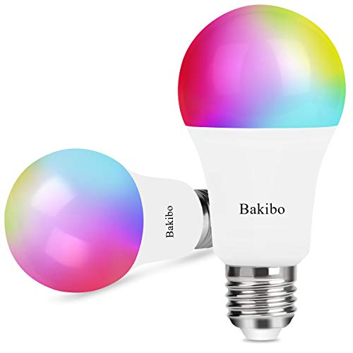 bakibo Bombilla LED Inteligente WiFi Regulable 9W 1000 Lm Lámpara, E27 Multicolor Bombilla Compatible con Alexa, Echo e Google Home, A19 90W Equivalente RGBCW Color Cambio Bombilla, 2 Pcs