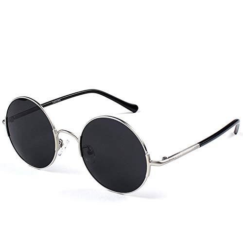 SSN Gafas De Sol Polarizadas Hombres Conducción Redonda Gafas De Sol Traidores Retro Hip Hop Personalidad Cara Grande Príncipe Gafas Moda Pequeño Marco (Color : B)