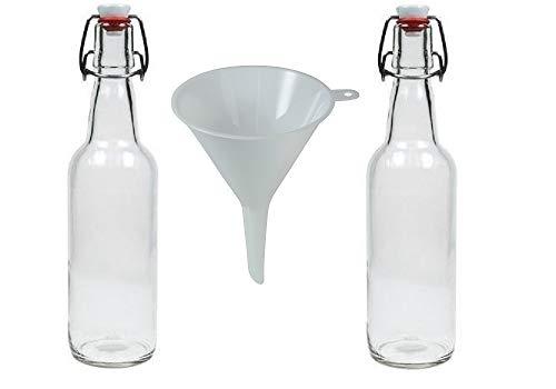 Viva-artículos de Uso doméstico - 2 Botellas de Cristal 500 ml con Cierre de Clip para llenar Incluye Embudo de diámetro 9,5 cm