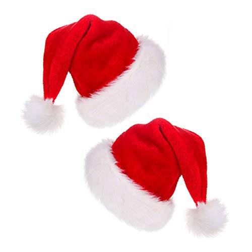 HOWAF 2 Gorros de Papa Noel, Gorro Santa Claus Gorro Navideño Piel Sombrero Gorras para Adulto Hombre Mujer Disfraces Accesorios de Navidad para Regalos