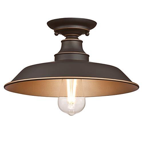 Westinghouse Lighting 63703 – Apparecchiatura da soffitto Iron Hill per montaggio semi-rasente da interno da 30 cm a una luce, finitura in bronzo lucidato a olio con punti brillanti