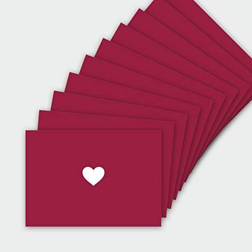 hejjo 10er Bundle rote Postkarten mit Herz I Premium Karten-Set für Einladungen Geburtstage Liebe Danke Blanko I Faire Herstellung und Verpackung I Liv