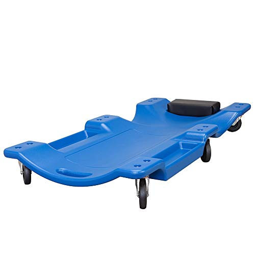 """HPDMC Blue Blow Molded Plastic Rolling Garage/Shop Creeper - 40"""" Mechanic Cart with Padded Headrest, Dual Tool Trays and 6 Casters"""