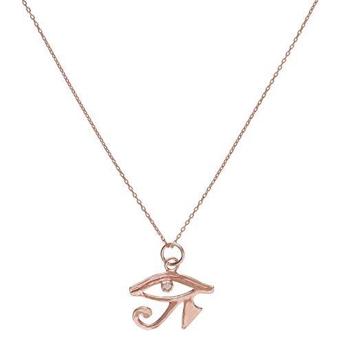 Córdoba Jewels | Gargantilla en Plata de Ley 925 con bañada en Oro Rosa con zirconitas con diseño Ojo de Horus Rose Gold