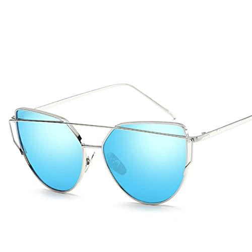 Gafas De Sol Mujeres Moda Gato Ojo Gafas De Sol Mujeres Lente De Espejo De Lujo Vintage Gafas De Sol Rosa Oro Metal Uv400 Oculos-Silver Blue