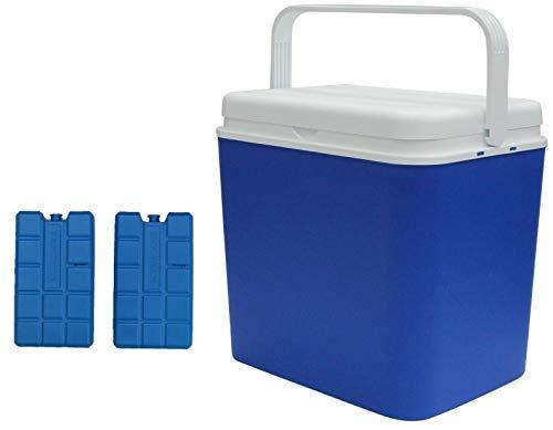 Refroidisseur Boite Isolé Boite Fraiche Congélateur Boite & Petit Refroidisseur Boîtes 8 Heure Isolation Pique-Nique Boite - Bleu, 24 Litre & 2 Ice Blocks