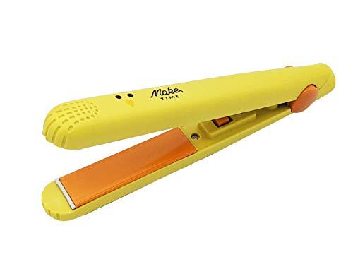 JOVAL - Mini plancha del pelo de viaje. Plancha alisadora cerámica de calentamiento rápido con caja protectora especial para viaje de plástico. Ideal para llevar en el bolso. (Amarillo)