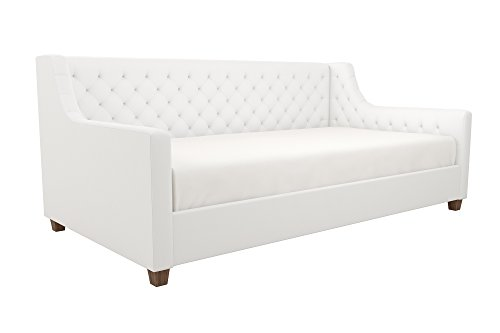 DHP Jordyn Diamond Tufted Upholstered Daybed/ Sofa Bed, Twin Size Frame, White Faux Leather