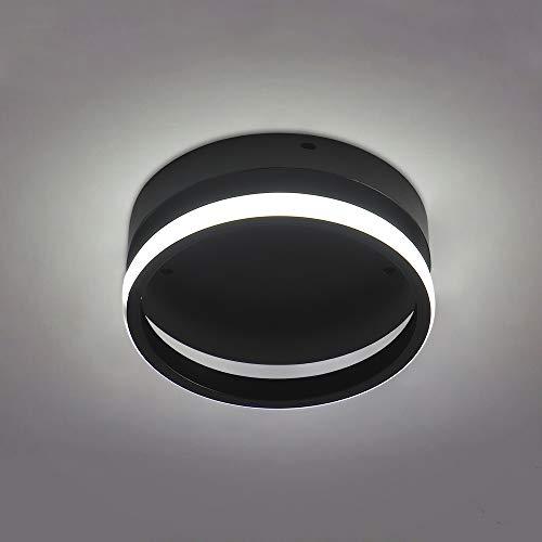 BYX Lámpara de techo moderna para montaje en superficie Pasillo redondo Pasillo Balcón Luz de techo LED de hierro forjado nórdico Iluminación interior 12W Negro 220V (Iluminación blanca)