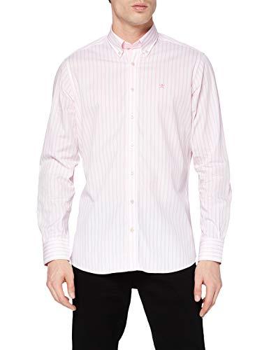 Hackett London Butcher Stripe Camisa, 3aepink/Blanco, S para Hombre