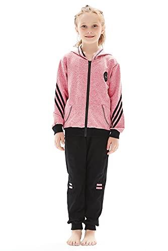 Poywuo Trainingsanzug Jogginganzug Kinder Mädchen 2tlg Sportanzug Sportswear-Jogginganzüge Mädchen Freizeitanzug Bekleidungsset Zweiteiler Outfit-Set(Sweatshirt+Sweathose),Rosa,140(EU 134-140)